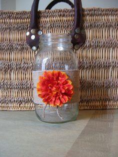 "FALL AUTUMN BURLAP Mason Jar ""Sleeves"" Fall Wedding, Rustic Wedding , Cottage Decor. $10.50, via Etsy."