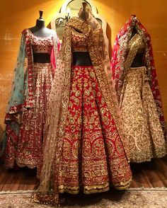One of my favorites at Vogue Wedding Show This red heavy embroidered bridal lehenga is from Manish Malhotra Indian Bridal Outfits, Indian Bridal Lehenga, Indian Bridal Fashion, Indian Bridal Wear, Pakistani Bridal, Indian Dresses, Bridal Dresses, Bride Indian, Lehenga Wedding