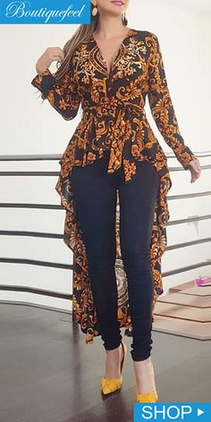 Baroque Print Long Sleeve Dip Hem Blouse - All About Stylish Dress Designs, Stylish Dresses, Latest African Fashion Dresses, African Print Fashion, Indian Fashion, Look Fashion, Fashion Outfits, Fashion Pants, Hijab Fashion