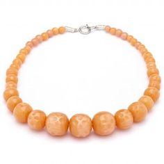 Splendette Fakelite Bead Necklace Peach