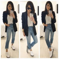 One way you can immediately look modern-day is to integrate current trends in your OOTDs. But be mindful with trends and absolutely do not wear trendy pieces head-to-toe. Try pairing some frayed denims with a basic t-shirt for beginners. Look Blazer, Blazer With Jeans, Girl Fashion, Fashion Looks, Womens Fashion, Blazer Fashion, Fashion Outfits, Fashion Hats, Boyfriend Look