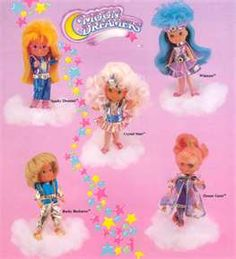 Moon dreamers--I don't remember this cartoon, but we definitely had some of these toys, right At least the one in the middle, I remember those clothes 1980s Toys, Retro Toys, Vintage Toys, Vintage Stuff, 90s Childhood, Childhood Memories, Jem Et Les Hologrammes, Sailor Moon, Jem Doll