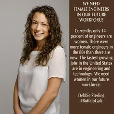 14% of engineers are women. There were more female engineers in the 80s than now. #BuffaloGals - @debbieblox inspired