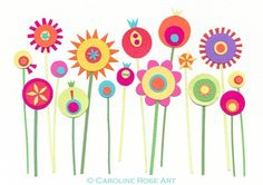 Stilizzati Colorful Flowers, Art Flowers, Spring Flowers, Diy Arts And Crafts, Paper Crafts, Scandinavian Folk Art, Art Drawings For Kids, Flower Doodles, Scrapbook Embellishments