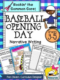 Baseball Opening Day is in April! This narrative writing lesson has teaching slides and student templates! All in one! $ #rockinresources #baseball #openingday #narrativewriting