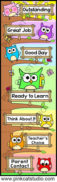 Owl Theme Behavior Clip Chart: This adorable owl theme behavior clip chart will look fantastic in your classroom! The fun tree design will spark your students' natural desire to climb. Encourage your students to climb to the top of the owl tree by making good choices. By Pink Cat Studio