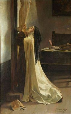 """"""" St Teresa of Jesus – Adolfo Lozano Sidro """" Keep in your mind that I could not exaggerate the importance of this. Fix your eyes on the Crucified and everything will become small for you. If His Majesty showed us His love by means of such. Nun Catholic, Catholic Saints, Roman Catholic, Sainte Therese De Lisieux, Ste Therese, Saint Teresa Of Avila, Image Jesus, Catholic Pictures, Bride Of Christ"""