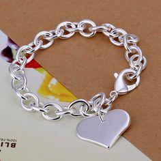 Cheap Envío libre más nuevo de plata etiqueta del corazón pulsera de hombre…