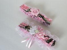 Bridal Garter, Wedding Garter, Realtree Camo Garter Set, Pale Pink Camo Keepsake and Toss-away Garter Set. by TheMomentWeddingBout on Etsy https://www.etsy.com/listing/192266054/bridal-garter-wedding-garter-realtree