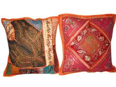 Orange Pillow Covers, Orange Pillows, Indian Inspired Decor, Patchwork Cushion, Size 16, Cushions, Throw Pillows, Interior Design, Ethnic