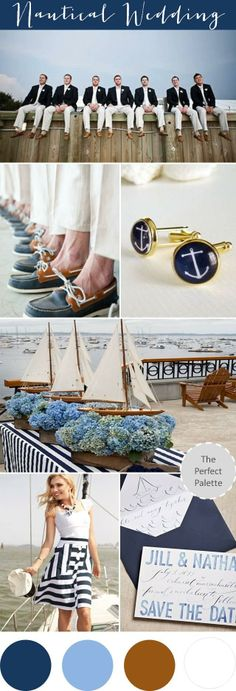 wedding palette and theme idea - nautical - navy and brown