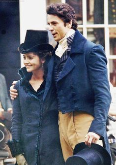 Jenna Coleman + Matthew Goode filming for 'Death Comes to Pemberley' (July 30th 2013)