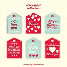 Pacote de amor etiquetas com corações e mensagens Vetor grátis