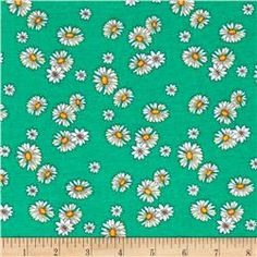 Stretch Poly Spandex Jersey Knit Ivory Daisies and Lilies on Green