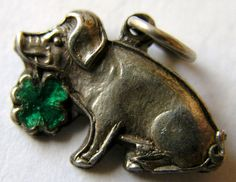 VINTAGE ART DECO 1930s GERMAN SILVER 'lucky' PIG w/ ENAMELED CLOVER CHARM