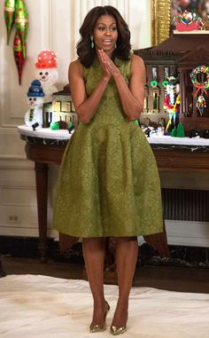 Michelle Obama from The Big Picture: Today's Hot Pics White House winter wonderland! The First Lady makes a speech during the 2015 holiday décor preview in Washington D.C.