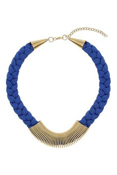 Blue Plaited Thread Necklace