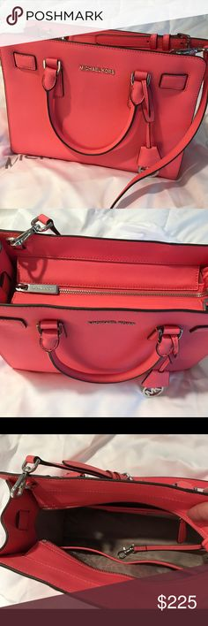 """Michael Kors Purse 👛 Hot Coral.  Mint condition.  Beautiful 🛍. Only carried one time. I love it but not big enough for me.  Approximately 10"""" tall x 12"""" wide. Handles & strap. Dust bag included. Michael Kors Bags Shoulder Bags"""