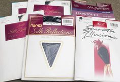 Retired Hanes Silk Reflections Smooth Illusion Pantyhose lot Jet Barely There AB #Hanes1box5packspackages #PantyhoseControlTopFrenchCutPanty