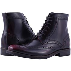 Rockport Wyat Wingtip Boot (Burgundy) Men's Boots ($165) ❤ liked on Polyvore featuring men's fashion, men's shoes, men's boots, mens wingtip shoes, mens lace up shoes, mens wingtip boots, mens lightweight running shoes and mens burgundy boots