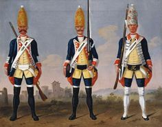 David Morier - Grenadiers, Grenadier Regiment, Foot Guards and Regiment 'König'. Creator: David Morier (artist) Creation Date: c. 1748 Materials: Oil on canvas Dimensions: x cm RCIN 403393 Reference(s): HMD 147 British Uniforms, German Uniforms, Military Uniforms, Frederick The Great, Seven Years' War, The Royal Collection, American Revolution, David, Museum