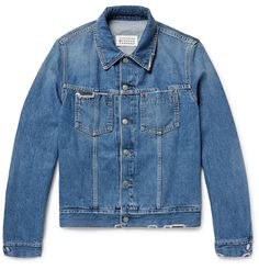 <a href='http://www.mrporter.com/mens/Designers/Maison_Margiela'>Maison Margiela</a>'s interpretation of the traditional denim jacket is lightly faded, distressed and repaired with corduroy patch details. The semi-fitted cut and subtly cropped hem further its old-school appeal.