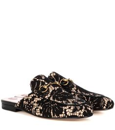 GUCCI Princetown Lace Slippers. #gucci #shoes #slippers