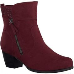 This trendy and practical boot with zip and stud detail is an ideal everyday boot with a perfect heel for all day wear. Built with a low 45mm heel and a textured rubber sole for added grip. Available in black and red. http://www.marshallshoes.co.uk/womens-c2/jana-ladies-red-ankle-boot-8-8-25360-25-500-p2901
