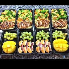 This meal prep idea consists of teriyaki chicken with quinoa, fruit, and veggies — the perfect mix of foods for all-day fullness! Healthy Meal Prep, Healthy Eating, Healthy Recipes, Healthy Food, Yummy Food, Make Ahead Meals, Easy Meals, Hcg Meals, Lunch Saludable