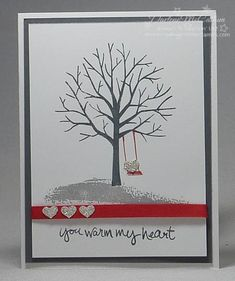 http://dreamingaboutrubberstamps.com - Sheltering Tree with Heart Border Punch - the small silver hearts work so well with this greeting