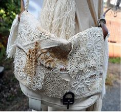 Lace detailed messenger bags.