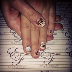 Cute Pocahontas Indian nails with dreamcatcher! By Esy Floresy