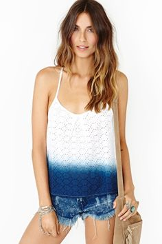 find an old eyelet lace tank at a thrift store + dip dye it  in your favorite color