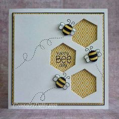 Are you just craving some bee cuteness and some simple paper craft ? Here are some bee cards to help you get inspiration. Some of these bee. Hexagon Cards, Hexagon Quilt, Stampin Up, Bee Cards, Pintura Country, Card Making Inspiration, Smash Book, Paper Cards, Cool Cards