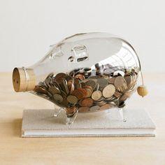 Glass small piggy bank
