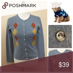 NWT Lightweight Argyle Blue Cardigan Sweater S M L NEW LISTING ✅ Looking book 📚 Smart in this sassy Cardigan and it's a bargain, too! NWT Lightweight Argyle Blue Cardigan Sweater with Rhinestone buttons. Made of merino wool, runs true to size and high quality.  Wonderful to transition into spring. These are straight from the vendor and gorgeous. Get them while your size is available. Bundle for discount. Available in small, medium and large. Sweaters Cardigans