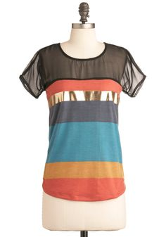 Later, Skater Top - Multi, Blue, Black, Gold, Stripes, Casual, Short Sleeves, Orange, Yellow, Mid-length