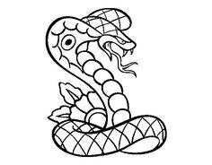 Coloriage de Tatouage de cobra pour Colorier