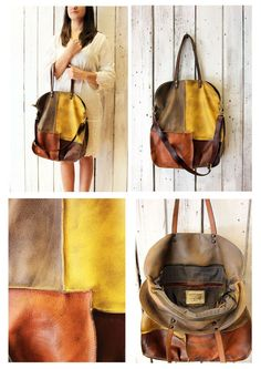 "Handmade Italian vintage Leather Tote bag ""PACH BAG 1"" di LaSellerieLimited su Etsy"