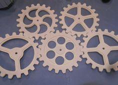 Wooden Gears Wood Gears Steampunk Industrial by BitterrootDSign2