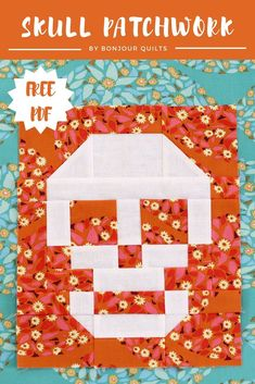 """Celebrate October with a free patchwork skull block tutorial. Finishing at 9"""" x 11"""" this block is perfect for Halloween cushions and throws. Patchwork Tutorial, Patchwork Quilt Patterns, Patchwork Designs, Halloween Sewing, Halloween Home Decor, Nancy Zieman, Blog Art, Quilted Potholders, Homemade Halloween"""