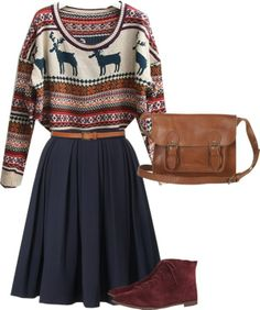 Winter sweater with twirly navy skirt