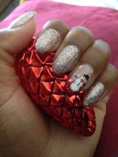 #christmas #nail art for #almond shape nails by Selena! Cute little #snowman