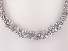 Wide necklace with silver crystal beads and por SelwerJewelry