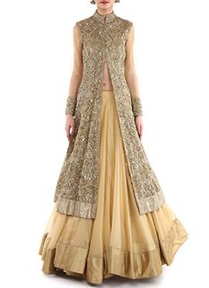Megha And Jigar Golden Beige Lehenga Choli