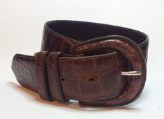 """Talbots #women size 27 Italian Alligator Cowhide brown leather belt 1.5"""" wide visit our ebay store at  http://stores.ebay.com/esquirestore"""