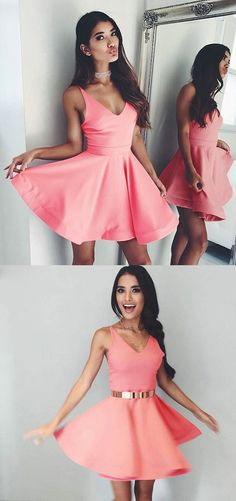 homecoming dresses,short homecoming dresses,satin homecoming dresses,sexy homecoming dresses,pink homecoming dresses,v-neck homecoming dresses