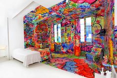 a Hotel Room covered by a well-known graffiti artist in France