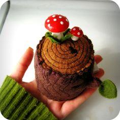 Tree Stump Pincushion with mushroom pin by hitree on Etsy, $25.00