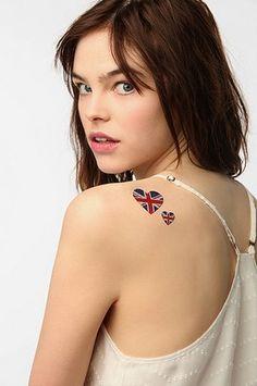 NPW Glitter Tattoo Sticker Set from Urban Outfitters Union Jack Tattoo, British Tattoo, Symbolic Tattoos, Spice Girls, Beauty Trends, New Tattoos, Beauty Makeup, Urban Outfitters, Sticker